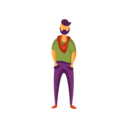 Stylish young man in modern fashion clothes vector Illustration isolated on a white background. Illusztráció