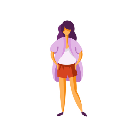 Stylish girl wearing shorts and cardigan, elegant fashionable young woman in modern clothing vector Illustration isolated on a white background.