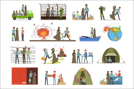 Refugiados apátridas, víctimas de la guerra. Ilustraciones de vectores de inmigrantes Illigal aisladas sobre fondo blanco