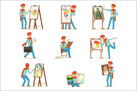 Happy smiling artist painting on canvas set. Talented painter colorful character vector illustrations isolated on a white background