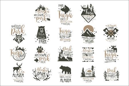 アラスカ国立公園のラベルセット。森林保護手描きベクトル イラストレーション