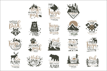 Alaska national park labels set. Forest protection hand drawn vector Illustrations Иллюстрация