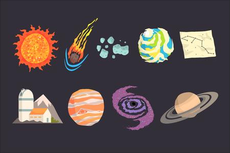 Ensemble d'objets du système solaire. Collection colorée de cosmos, science planétaire, astronomie Illustrations