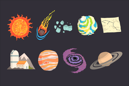 Solar system objects set. Colorful collection of cosmos, planetary science, astronomy Illustrations
