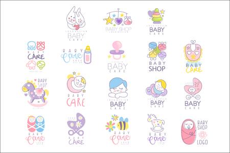 Babypflege-Set für Logo-Design, handgezeichnete Vektor-Illustrationen Logo