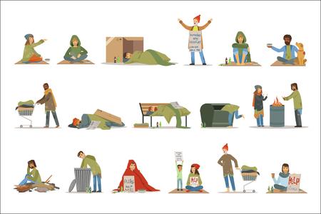 Zeichensatz für Obdachlose. Arbeitslose Männer, die Hilfevektorillustrationen lokalisiert auf einem weißen Hintergrund benötigen