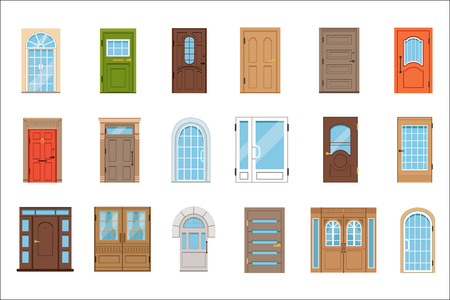 Colorful front doors. Collection of vIntage and modern doors to houses and buildings vector illustrations