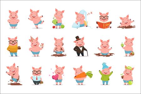 Kleine Comic-Schweinefiguren, die in verschiedenen Situationen posieren, setzen Vektorillustrationen einzeln auf weißem Hintergrund Vektorgrafik