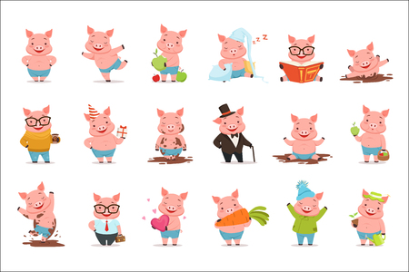 Piccoli personaggi di maiali dei cartoni animati che posano in diverse situazioni set di illustrazioni vettoriali isolate su uno sfondo bianco Vettoriali