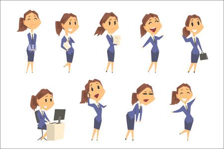 Ensemble de personnages de femme d'affaires mignons dans différentes poses et émotions. Illustrations de vecteur de dessin animé coloré isolés sur fond blanc