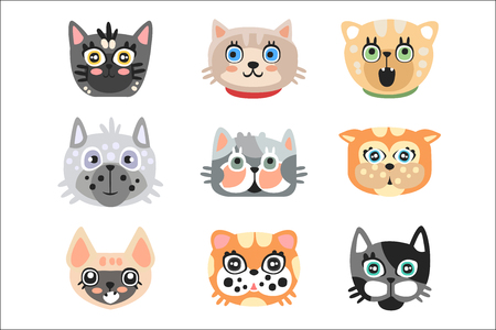 Set of cute cartoon cats heads. Colorful character vector Illustrations isolated on a white background