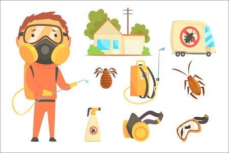 Exterminators of insects in orange chemical protective suit with equipment and products set. Pest control service cartoon colorful Illustrations