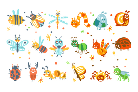 Cute cartoon bugs set. Funny insects colorful cartoon characters