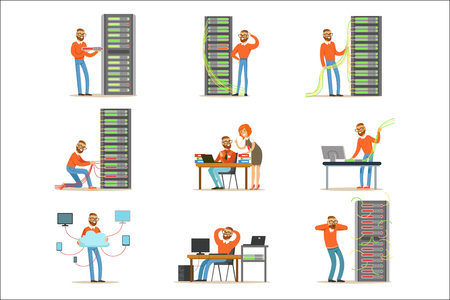 Young engineer working in network server room. Technician at the data center set of colorful Illustrations isolated on white background Illustration