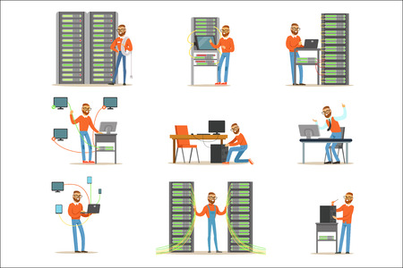 Young man working in network server room. Technician at the data center set of colorful Illustrations isolated on white background