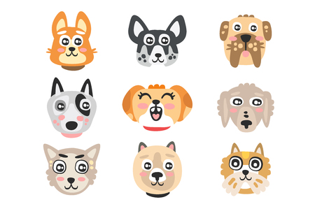 Set of funny cartoon dogs heads. Dogs of different breeds colorful character vector Illustrations Ilustracja