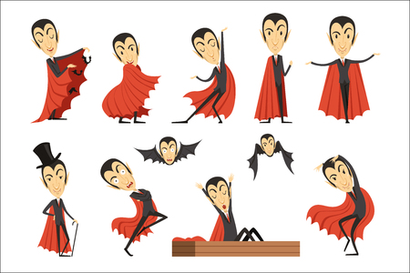 Cartoon Count Dracula wearing red cape set. Vampire characters vector illustrations isolated on a white background 일러스트