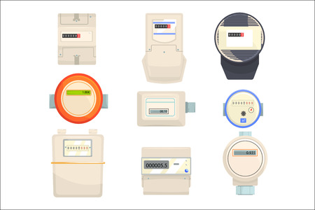 Zestaw liczników, liczniki mechaniczne i elektroniczne ilustracje wektorowe na białym tle na białym tle Ilustracje wektorowe