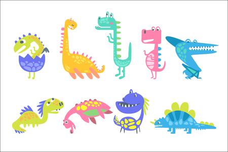 Dinosaures drôles mignons. Collection de personnages animaux préhistoriques vector Illustrations
