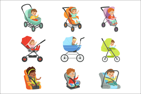 Baby carriage set. Children transport colorful Illustrations isolated on white background
