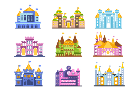 Colorful castles and mansions set. Collection of medieval buildings vector Illustrations Illustration