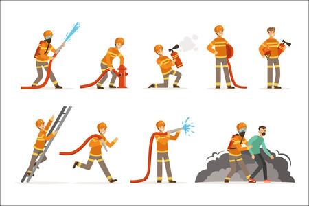 Personajes de bomberos haciendo su trabajo y salvando gente. Bombero en diferentes situaciones ilustraciones vectoriales de dibujos animados