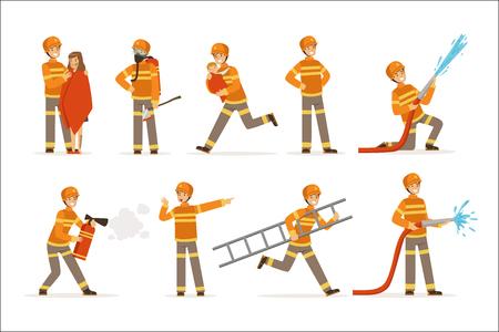 vigili del fuoco in uniforme arancione facendo il loro set di lavoro. Vigile del fuoco in diverse situazioni fumetto vettoriale illustrazioni Vettoriali