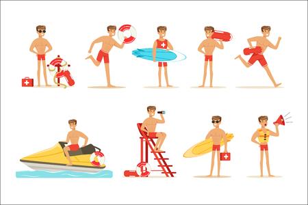 Carattere dell'uomo bagnino che fa il suo lavoro. Illustrazioni vettoriali di salvataggio in acqua isolate su uno sfondo bianco