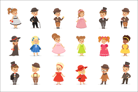 Cute children in elegant clothes for official social events. Kids in historical costumes cartoon colorful Illustrations Иллюстрация