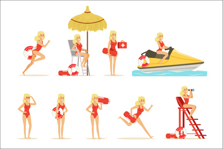 Lifeguard woman character doing his job. Water rescue vector Illustrations isolated on a white background