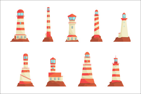 Searchlight towers for maritime navigational guidance set. Collection of lighthouses vector Illustrations