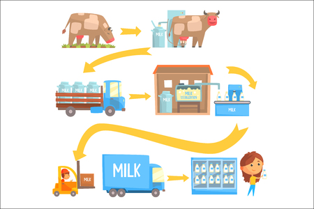 Productie en verwerking melk stadia set van vector illustraties geïsoleerd op een witte achtergrond