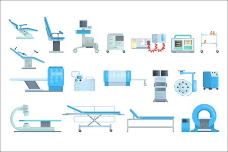 Innovational medical diagnostic equipment set of vector Illustrations isolated on a white background Illustration