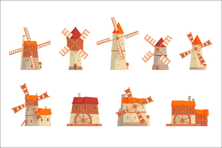 Rural windmills set. Collection of traditional windmills vector Illustrations Illustration
