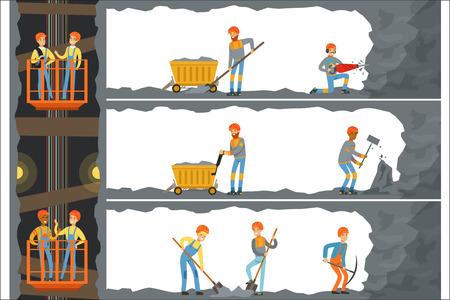 Industria del carbón, mina con muchos niveles, trabajadores, ascensor y electrodomésticos. Mineros trabajando en una mina Ilustración de vector