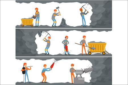 Mineurs professionnels travaillant dans une mine. Industrie du charbon, puits avec de nombreux niveaux et appareils