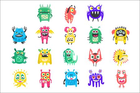 Cartoon schattige grappige monsters, aliens en bacteriën set. Kleurrijke verzameling vriendelijke monsters Illustratie geïsoleerd op een witte achtergrond Vector Illustratie