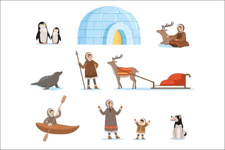 Personajes esquimales con vestimentas tradicionales y sus animales árticos. Vida en el lejano norte. Conjunto de ilustraciones vectoriales detalladas de dibujos animados coloridos aislados sobre fondo blanco