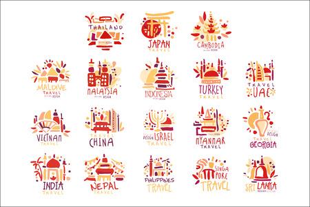 Maldives, Malaysia, Indonesia, Vietnam, China, Israel, India, Nepal, Filipinos set of colorful promo signs. Summer travel hand drawn vector Illustrations