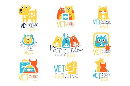 Vet clinic original label design, colorful hand drawn vector Illustrations