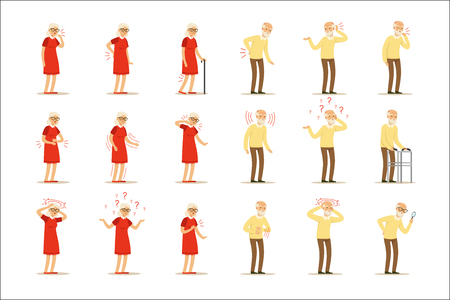 Bejaarde vrouwenziekten, pijnprobleem in rug, nek, arm, hart, knie en hoofd. Senior gezondheid set van kleurrijke stripfiguren gedetailleerde vector illustraties geïsoleerd op een witte achtergrond