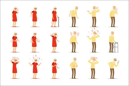 Enfermedades de la anciana, problema de dolor en la espalda, cuello, brazo, corazón, rodilla y cabeza. Conjunto de salud senior de personajes de dibujos animados coloridos ilustraciones vectoriales detalladas aisladas sobre fondo blanco