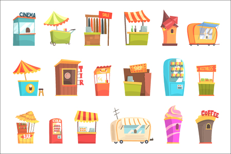 Fair And Market Street Food And Shop Kiosks, Small Temporary Stands For Sellers Set Of Cartoon Illustrations  イラスト・ベクター素材