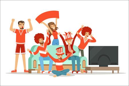 Grupo de amigos viendo deportes en la televisión y celebrando la victoria en casa. Personas vestidas de rojo y azul, apoyando a su equipo deportivo favorito, ilustraciones coloridas aisladas sobre fondo blanco