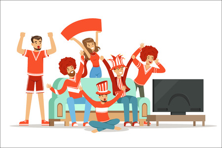 Group of friends watching sports on TV and celebrating victory at home. People dressed in red and blue, supporting their favorite sports team, colorful Illustrations isolated on white background