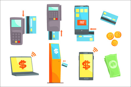 Payment methods set for label design. Payment terminals colorful cartoon detailed vector Illustrations isolated on white background