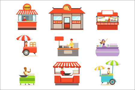 Street Food Kiosk Set On Wheels And Without With Smiling Vendor Serving Fast Food Vector Illustrations. Smiling People Working In Snack Outdoors Cafe Stand Series Of Cartoon Characters At Work.
