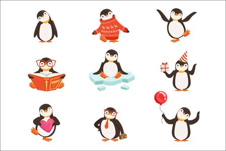 Simpatici personaggi dei cartoni animati pinguino impostati per la progettazione di etichette. Attività di pinguino con diverse emozioni e pose. Illustrazioni vettoriali dettagliate colorate isolate su sfondo bianco