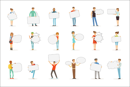 Man and woman standing and holding blank speech bubbles. Communication between people vector Illustrations isolated on a white background  イラスト・ベクター素材