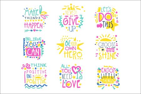 Courts messages positifs dessinés à la main vector Illustrations colorées